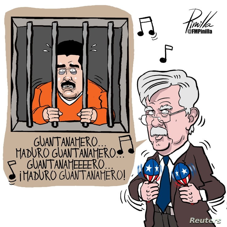 A cartoon caricature of John Bolton, U.S. President Donald Trump's national security adviser, is seen in this image provided by Venezuelan cartoonist Fernando Pinilla that now hangs framed on the wall of Bolton's West Wing office at the White House i...