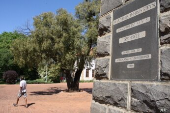 A campus plaque honoring the former president of the Free State Boer Republic Marthinus Theunis. Masitha says it's time for South Africans of all races to be honored by the university