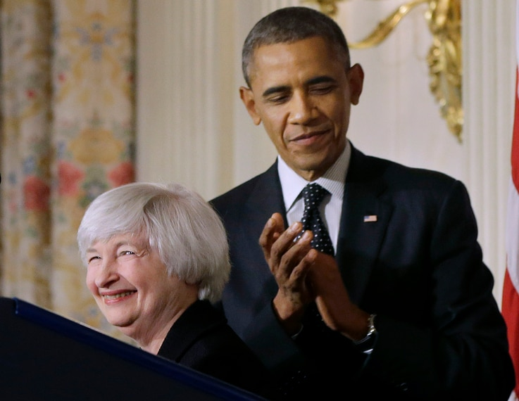 FILE - President Barack Obama applauds as Janet Yellen, vice chair of the Board of Governors of the Federal Reserve System, speaks after the president announced he is nominating Yellen to be chair of the Federal Reserve, succeeding Ben Bernanke, in t