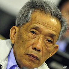 Kaing Guek Eav, also known as Comrade Duch, who ran the notorious Toul Sleng, a top secret detention center for the worst 'enemies' of the state, looks on during his appealing at the U.N.-backed war crimes tribunal in Phnom Penh, Cambodia, March 28, ...