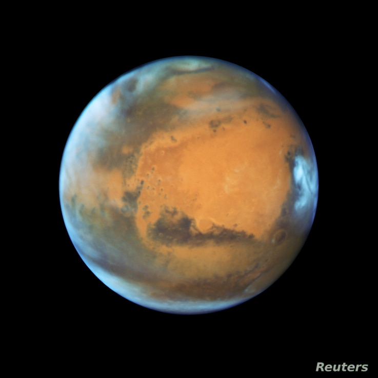 The planet Mars is shown May 12, 2016 in this NASA Hubble Space Telescope view when it was 50 million miles from Earth.