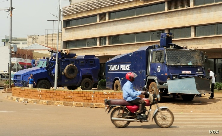 The police presence in Kampala, Uganda, during local elections was high. Public Order Management vehicles were parked at the city's main intersection, Feb. 24, 2016.