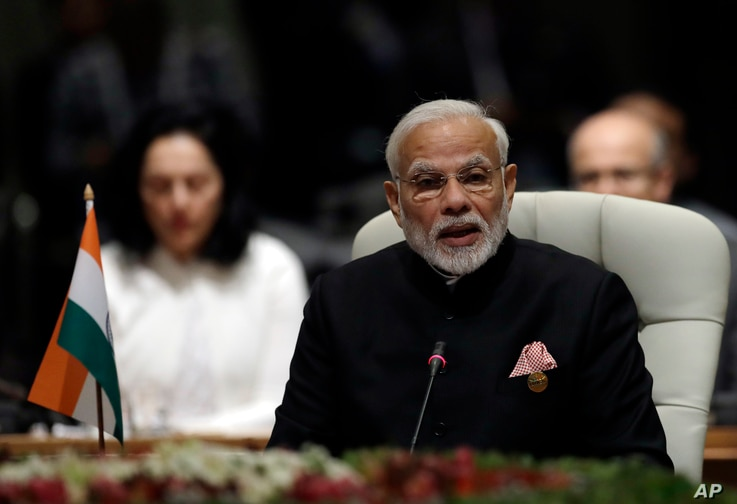Indian Prime Minister Narendra Modi adresses the BRICS Summit (members are Brazil, Russia, India, China and South Africa) in Johannesburg, South Africa, July 26, 2018.