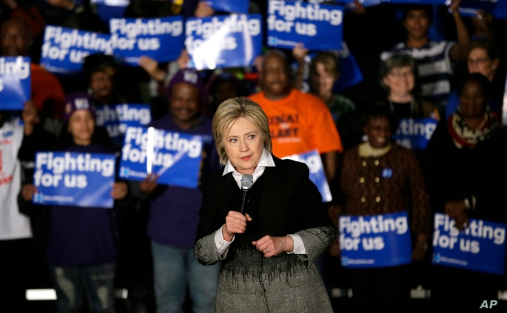 Democratic presidential candidate Hillary Clinton speaks during a rally at the Charles H. Wright Museum of African-American History, in Detroit, Mich., March 7, 2016.