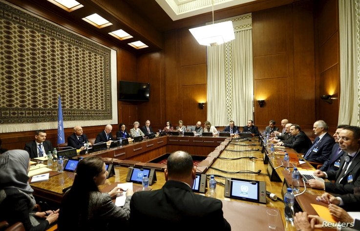 An overview of the room where Staffan de Mistura, the U.N. mediator for Syria, and the Syrian delegation, led by Syrian Ambassador to the U.N. Bashar Jaafari, opened the Syrian peace talks at the U.N. European headquarters in Geneva, Switzerland, Jan...