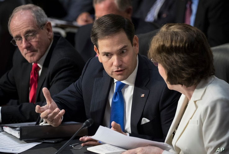 Senate Intelligence Committee members Marco Rubio, R-Fla., center, and Susan Collins, R-Maine, confer on Capitol Hill in Washington, June 28, 2017, as the committee conducts a hearing on Russian intervention in European elections in light of revelati...