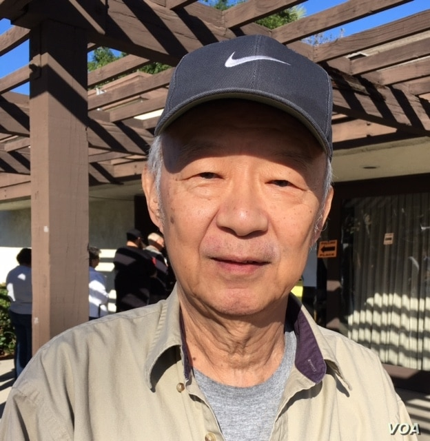 """Jeff Chang, 70, says the global economy is the big issue in the presidential election.  He voted for Hillary Clinton as president.  """"It's an important role,"""" he said, """"so we have to be careful to choose the right person."""" (M. O'Sullivan/VOA)"""