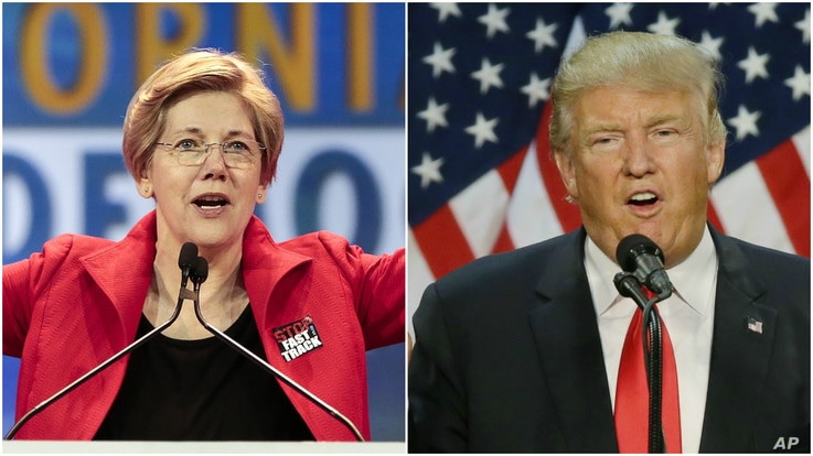 From left, U.S. Senator Elizabeth Warren, a Democrat from Massachusetts, at the California Democrats State Convention in Anaheim, Calif., May 16, 2015, and Republican front-runner Donald Trump at a rally in Eugene, Ore., May 6, 2016.