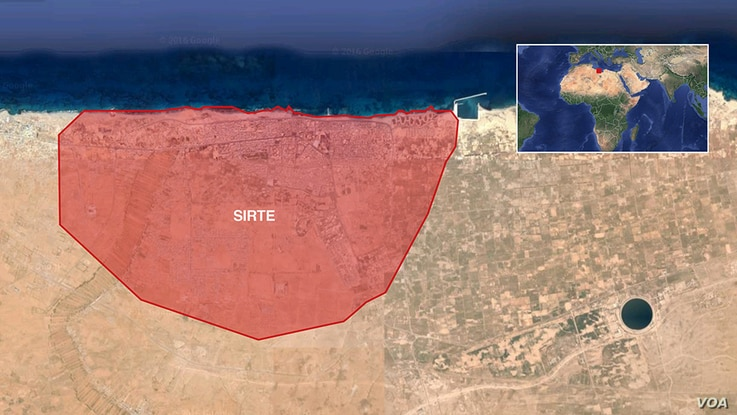 Map of Sirte, Libya, where U.S. airstrikes have targeted Islamic State extremists