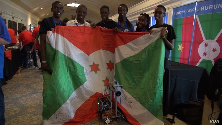 Burundi's robotics team is seen in this still image from a video shot by Auriane Itangishaka of VOA's Central Africa Service at the the FIRST Global Challenge, July 19, 2017 in Washington.