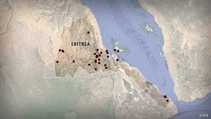 A map of Eritrea, with sites of possible detention centers plotted, based on data from Amnesty International.