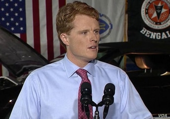 Rep. Joe Kennedy gives the Democratic response to President Donald Trump's State of the Union address, Jan. 30, 2018.