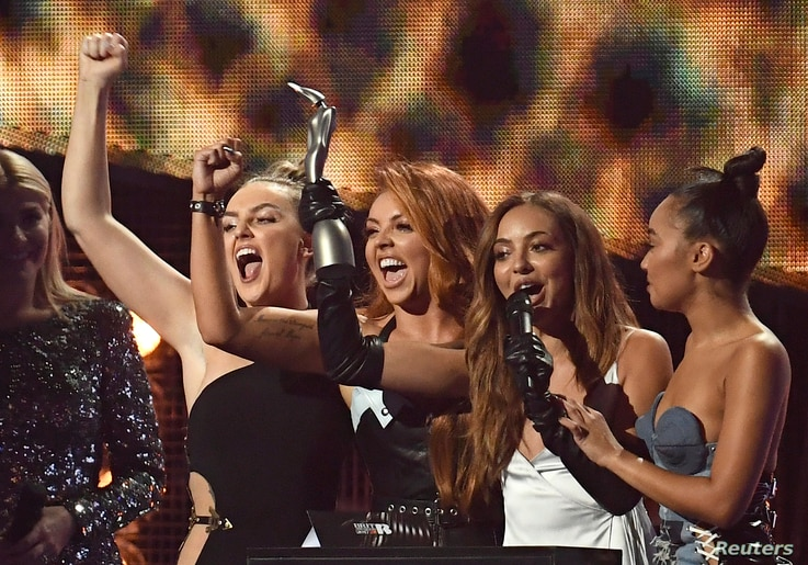 Little Mix accept the award for British single at the Brit Awards at the O2 Arena in London, Feb. 22, 2017.