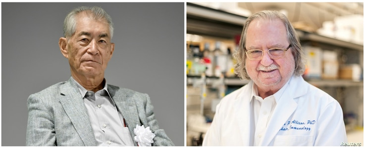 A combination photo shows Ph.D. James P. Allison of MD Anderson Cancer Center at The University of Texas in this picture obtained from MD Anderson Cancer Center (R) and Kyoto University Professor Tasuku Honjo in Kyoto, in this photo taken by Kyodo.