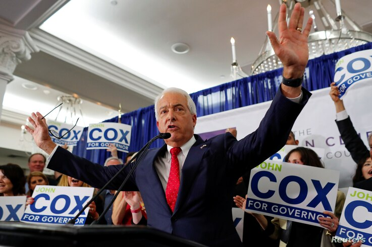 Republican gubernatorial candidate John Cox speaks at his election night headquarters after placing second in the California primary in San Diego, California, June 5, 2018.