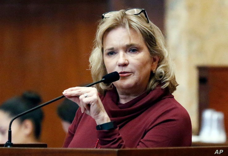 Rep. Becky Currie, R-Brookhaven, a registered nurse, explains a portion of House Bill 1510, which could make the state the first to ban most abortions after 15 weeks of pregnancy in House chambers at the Capitol in Jackson, Miss., Feb. 2, 2018.