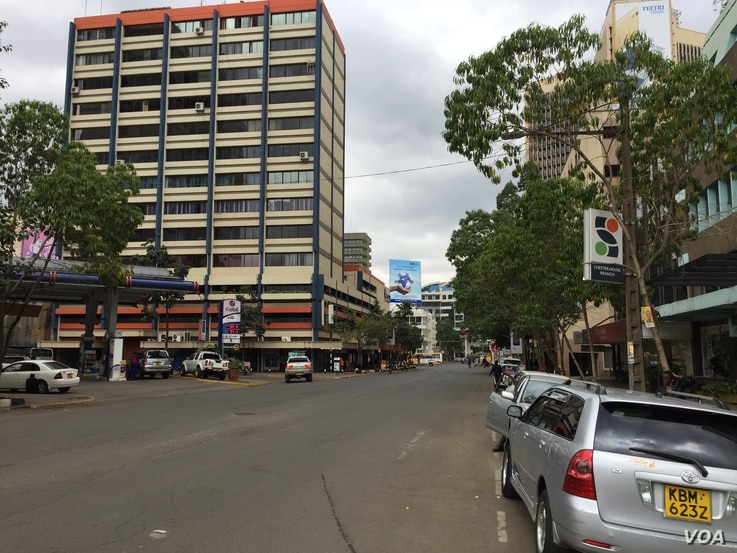 Usually busy streets of downtown Nairobi are quiet Wednesday, as Kenyans wait to hear the final results of Tuesday's national election. Aug. 9, 2017