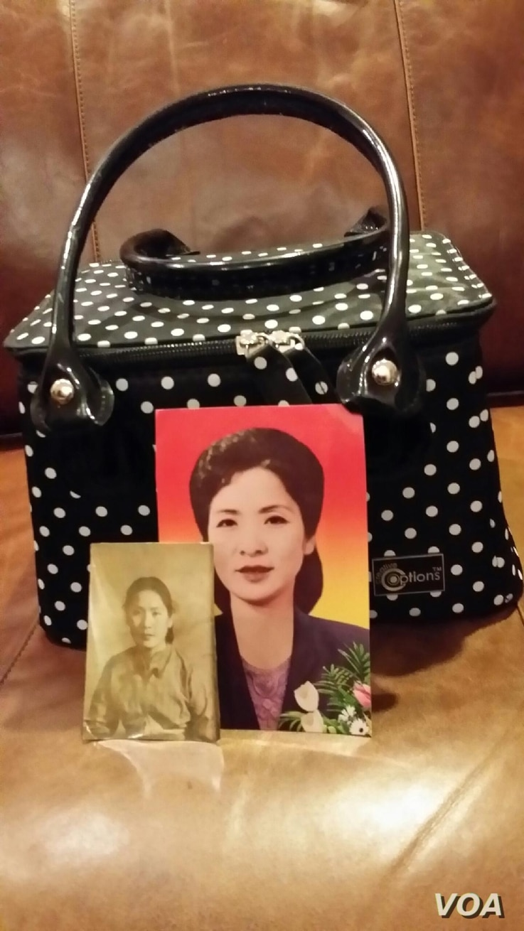 A container holding the remains of Kyung Jae Pak, along with a photo of her. (Date and photographer, unknown)
