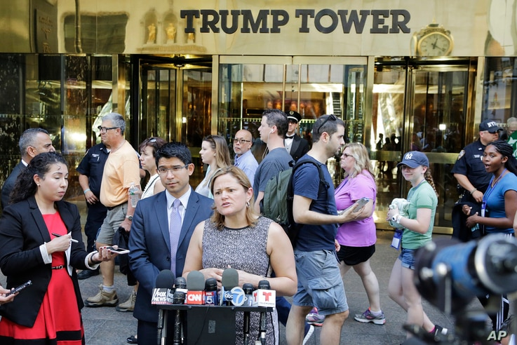 FILE - New York City Council Speaker Melissa Mark-Viverito speaks at a news conference outside Trump Tower in New York, June 6, 2016. She was speaking out against Donald Trump's assertions that Judge Gonzalo Curiel couldn't be impartial in the lawsui...