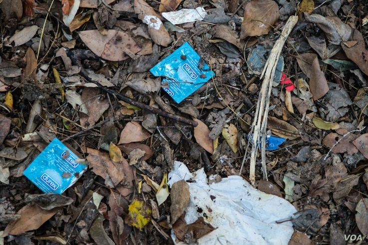Condom wrappers scattered across a secluded spot in Pedion tou Areos park. The young men and boys will often have sex with the clients within the park's confines. (Photo: J. Owens for VOA)