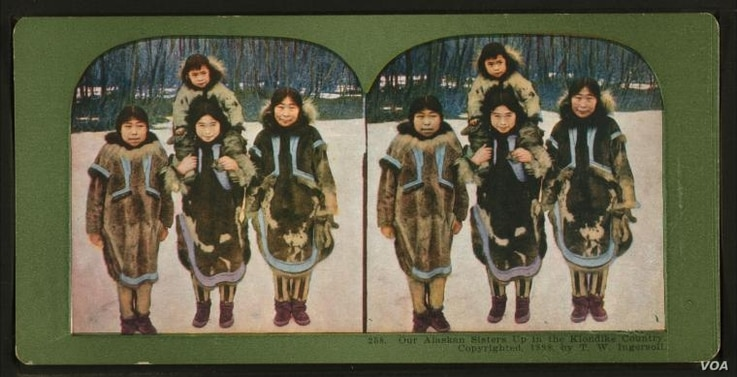 Native American from Klondike, Alaska are shown in this stereoscopic image released by the New York Public Library.