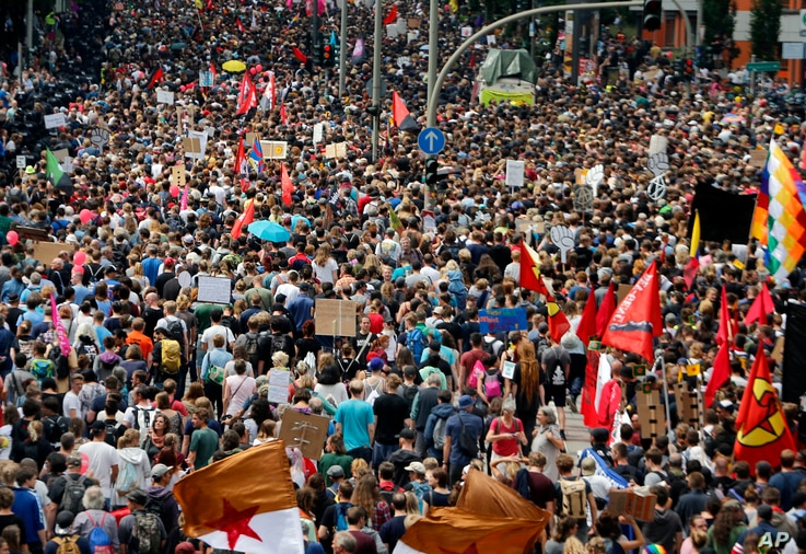 Thousands of people attend a protest against the G-20 summit in Hamburg, Germany, July 8, 2017.