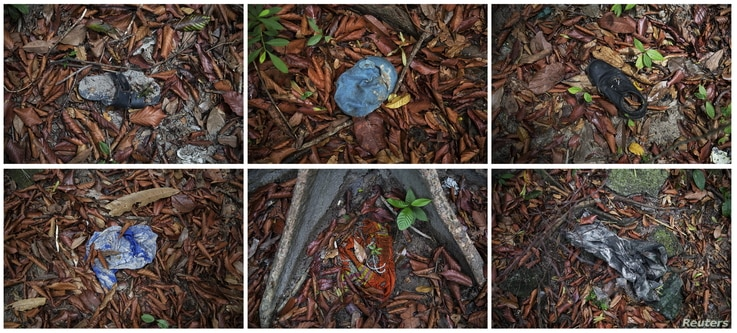 Combination picture shows clothes photographed near abandoned human trafficking camp in the jungle close the Thailand border at Bukit Wang Burma in northern Malaysia, May 26, 2015.