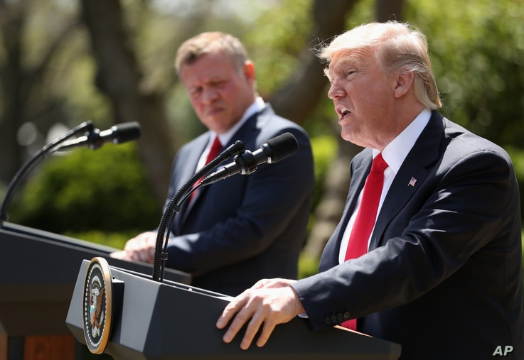 President Donald Trump and Jordan's King Abdullah II hold a news conference in the Rose Garden at the White House in Washington, April 5, 2017.