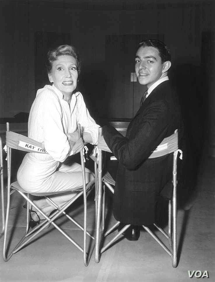 Kay Thompson and Hilary Knight on the set of Funny Face, 1956.