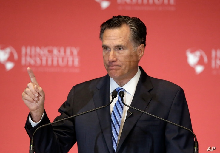 Former Republican presidential candidate Mitt Romney weighs in on the Republican presidential race during a speech at the University of Utah, in Salt Lake City, March 3, 2016.