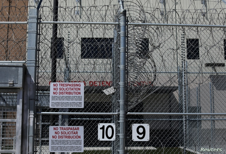FILE - The entrance to U.S. Customs and Immigration Enforcement's Otay Mesa detention facility is shown in Otay Mesa, Calif., March 28, 2017.