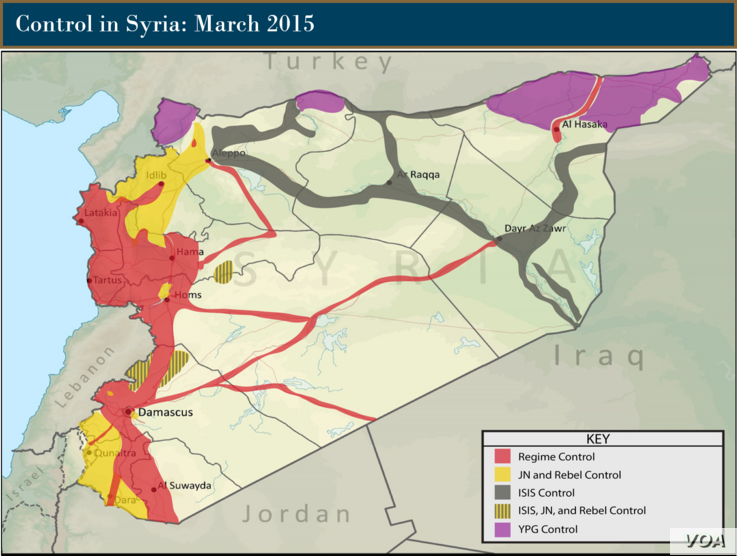 Control of Terrain in Syria, March 2015.  Courtesy:  Institute for the Study of War