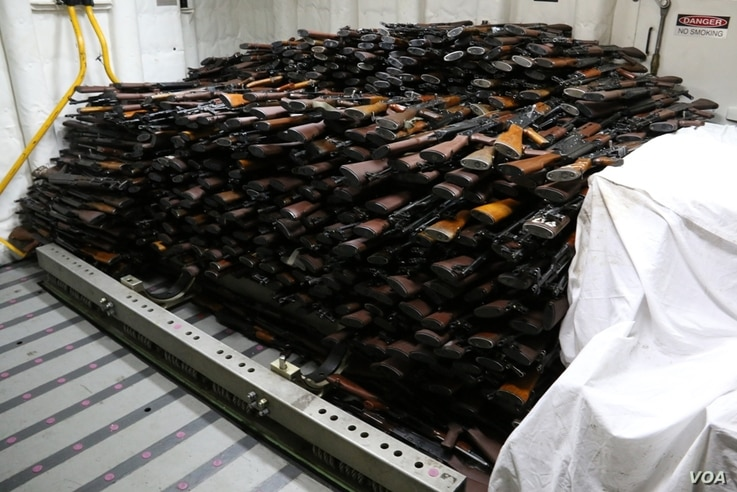 Weapons were seized from a stateless dhow which was intercepted by the Coastal Patrol ship USS Sirocco in the waters of the Arabian Sea on March 28. The illicit cargo included 1,500 AK-47s, 200 RPG launchers, and 21 .50 caliber machine guns.