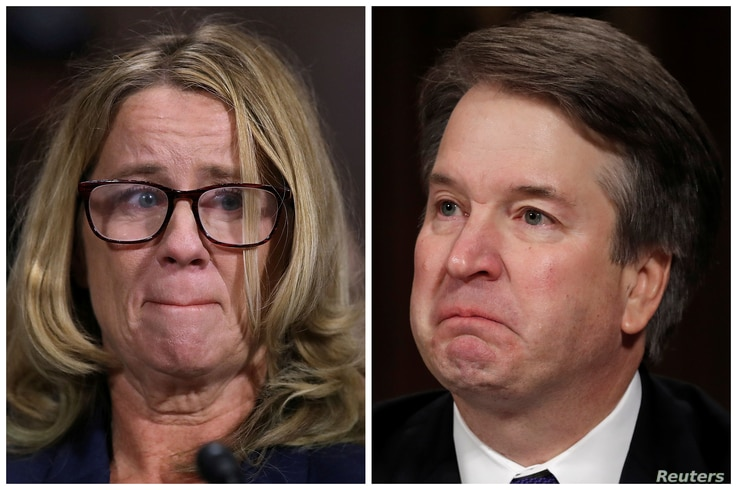 Professor Christine Blasey Ford and U.S. Supreme Court nominee Brett Kavanaugh (R), testify in this combination photo during a Senate Judiciary Committee confirmation, Sept. 27, 2018.