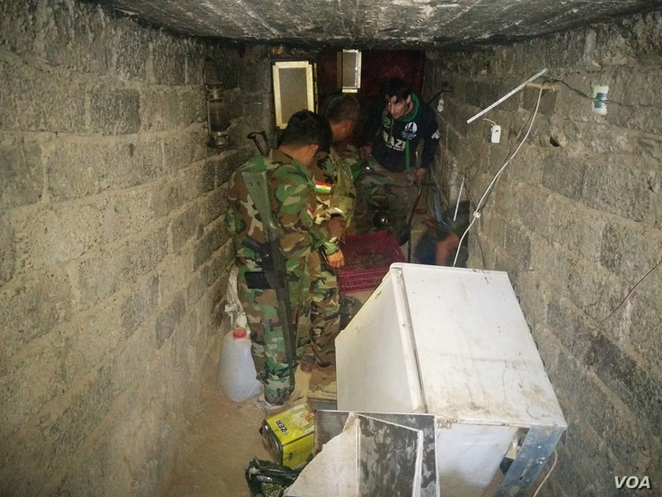 Islamic State militants left supplies and food in the tunnels when they fled in Tarjala in the Kurdish region of northern Iraq, Oct. 29, 2016. (H. Murdock/VOA)