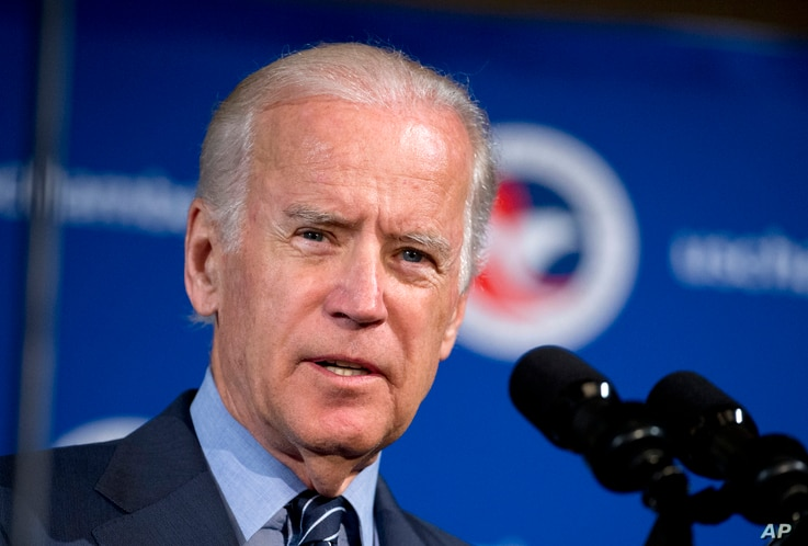 FILE - Vice President Joe Biden speaks at the first U.S.-Ukraine Business Forum co-hosted by the U.S. Chamber of Commerce and the Commerce Department in Washington, July 13, 2015. He heads to Ukraine Sunday.