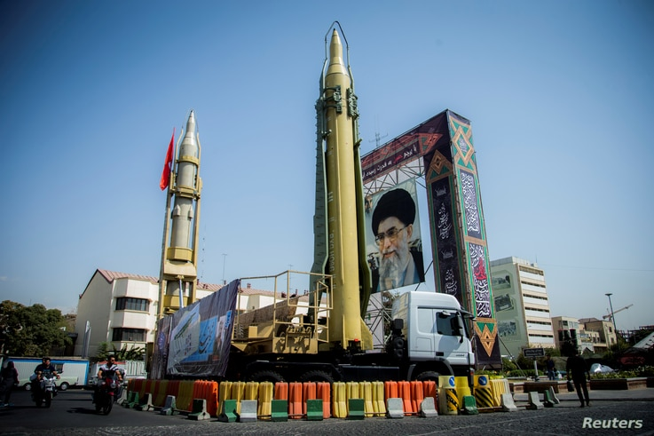 A display featuring missiles and a portrait of Iran's Supreme Leader Ayatollah Ali Khamenei is seen at Baharestan Square in Tehran, Iran September 27, 2017. Picture taken September 27, 2017.