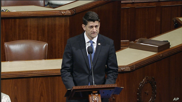 "In this image from House Television video, House Speaker Paul Ryan of Wis., speaks June 14, 2017, on the House floor at the Capitol in Washington, as he talks about the shooting in nearby Alexandria, Virginia. Ryan said, ""We are united in our anguish..."