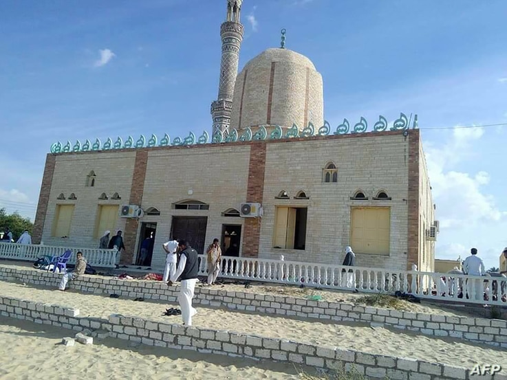 View of the Rawda mosque, roughly 40 kilometers west of the North Sinai capital of El-Arish, after a gun and bombing attack, on Nov. 24, 2017.