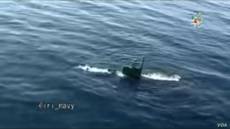 Iranian submarine prepares to fire a Valfajr torpedo as part of a large-scale navy drill. Iranian state media say the test happened Feb. 28, 2017. (Screen grab from Iranian military video)