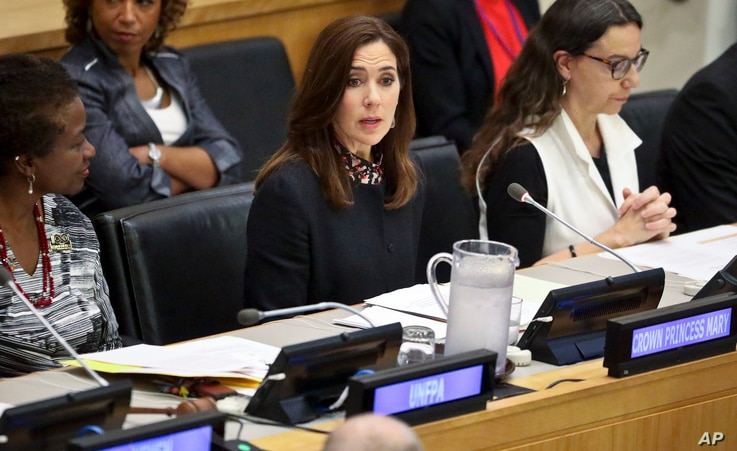 """Her Royal Highness Crown Princess Mary of Denmark, center, address the human rights conference titled """"Protecting Health Rights of Women and Girls Affected by Conflict,"""" during the U.N General Assembly, Sept. 24, 2018 at U.N. headquarters."""
