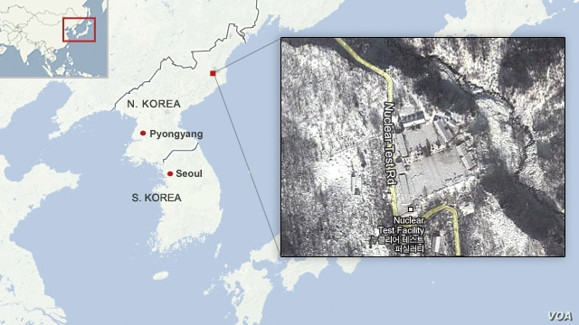 The location of the nuclear test site in North Korea.