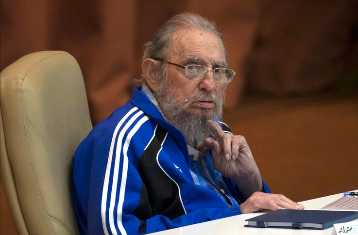 FILE - In this April 19, 2016 file photo, Fidel Castro attends the last day of the 7th Cuban Communist Party Congress in Havana, Cuba.