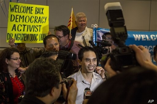 Human rights activist Nguyen Quoc Quan after arriving at Los Angeles International Airport from Vietnam, Jan. 30, 2013.