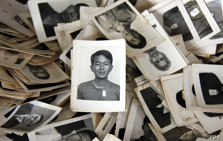 A pile of mugshots provided to the Documentation Center of Cambodia by an anonymous collector. (Credit: DC-Cam)