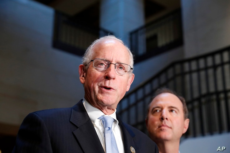 Rep. Mike Conaway, R-Texas, left, a member of the House Intelligence Committee, and Rep. Adam Schiff, D-Calif., ranking member of the House Intelligence Committee speak after closed meeting. June 6, 2017, in Washington.