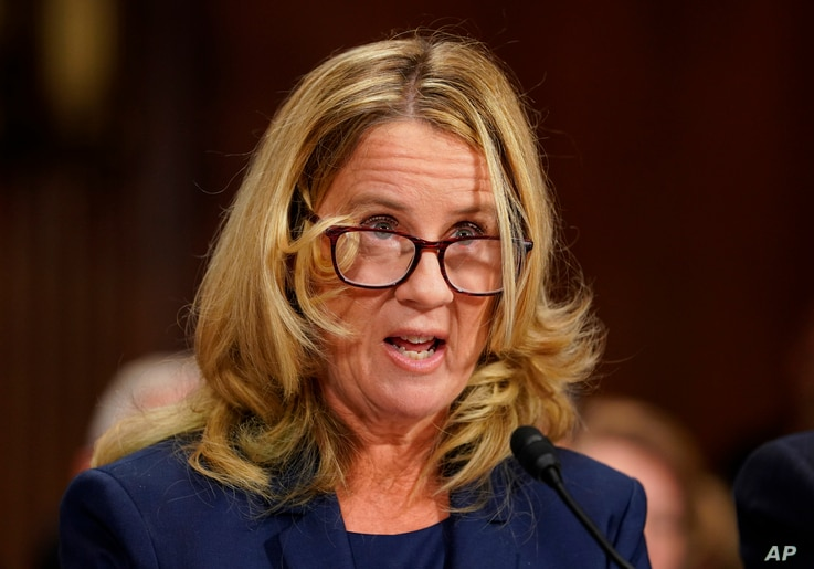 Christine Blasey Ford testifies before the Senate Judiciary Committee on Capitol Hill in Washington, Sept. 27, 2018.