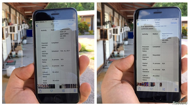 A combination handout photo shows an asylum seeker's phone displaying a screenshot (left) dated January 22 that shows a scheduled interview date as part of his progress for upcoming appointments in the U.S. resettlement assessment process, and a scr...