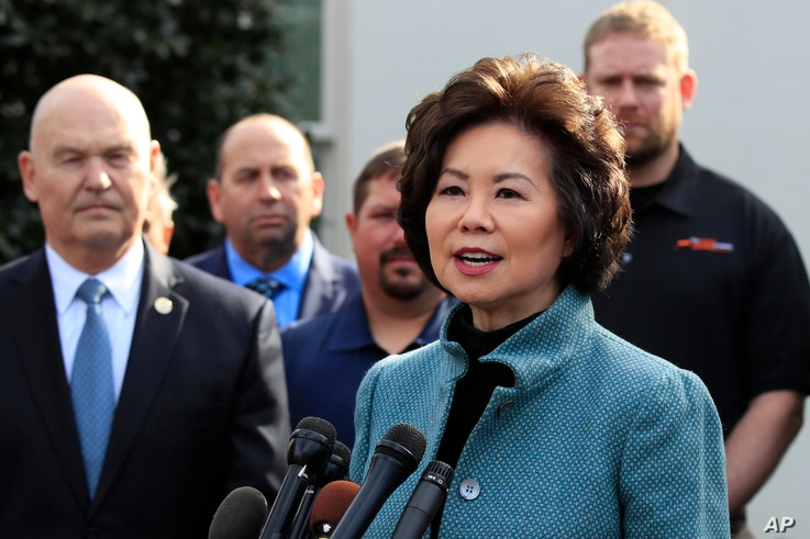 FILE - Transportation Secretary Elaine Chao, right, speaks to reporters outside the West Wing of the White House, March 4, 2019.