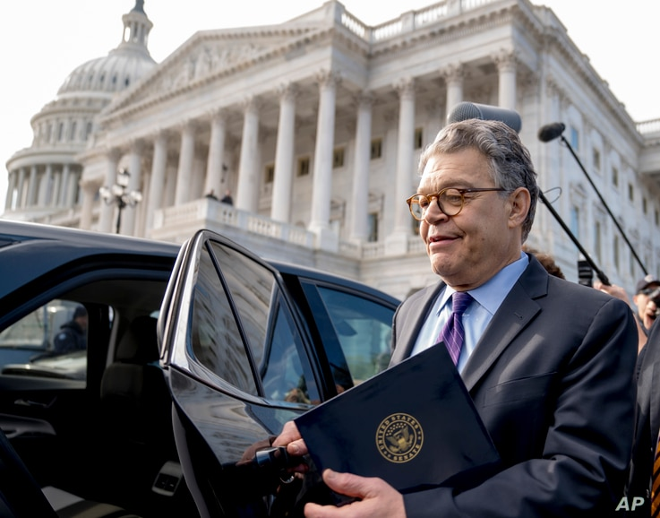 Sen. Al Franken, D-Minn., leaves the Capitol after speaking on the Senate floor, Dec. 7, 2017, on Capitol Hill in Washington.